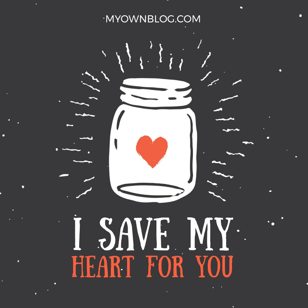 Heart glowing in Jar with Love quote — Создать дизайн