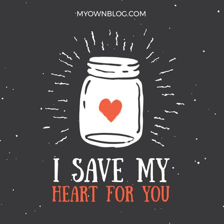 Plantilla de diseño de Heart glowing in Jar with Love quote Animated Post