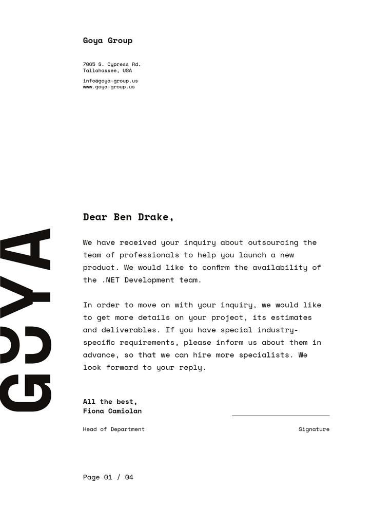 Development Team contract agreement Letterhead Design Template