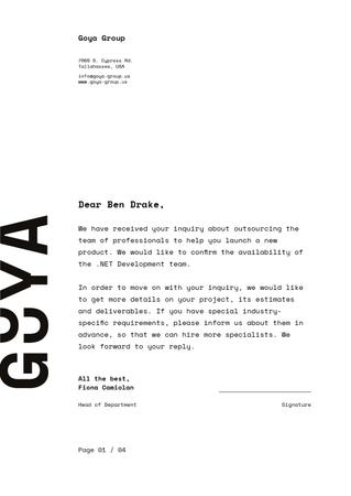 Ontwerpsjabloon van Letterhead van Development Team contract agreement