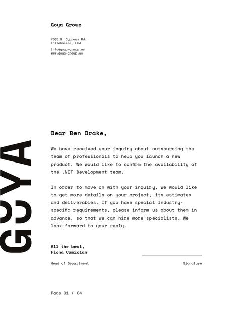 Template di design Development Team contract agreement Letterhead
