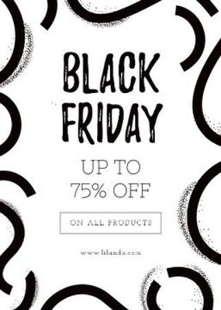 Plantilla de diseño de Black Friday ad on ribbons pattern Flayer