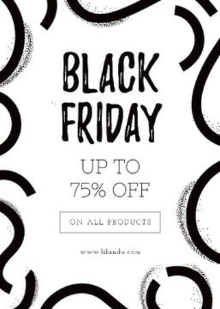 Template di design Black Friday ad on ribbons pattern Flayer