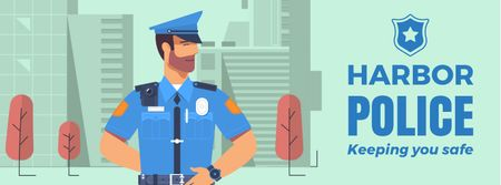Template di design Police officer in city Facebook Video cover