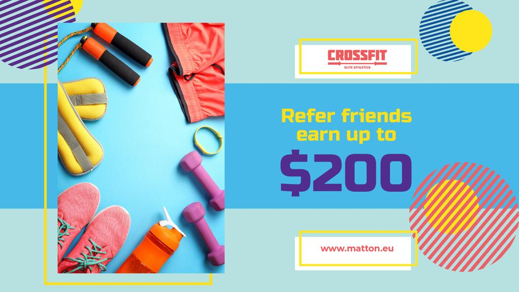 Fitness Ad with Sports Equipment in Blue — Crear un diseño