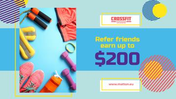Fitness Ad with Sports Equipment in Blue
