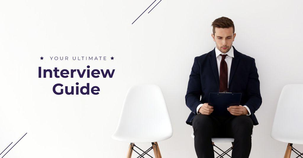 Plantilla de diseño de Young man in formal suit waiting for job interview Facebook AD