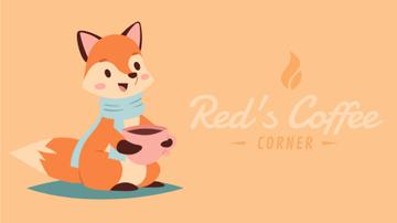 Coffee Shop Invitation Fox Drinking from Cup | Full Hd Video Template