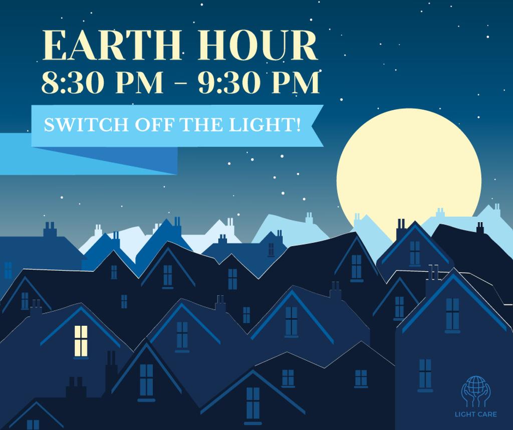 Night city on Earth hour Facebook Modelo de Design