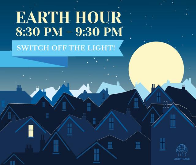 Plantilla de diseño de Night city on Earth hour Facebook