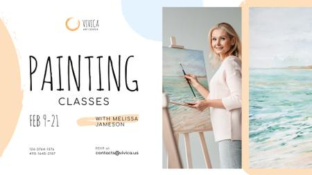 Designvorlage Art Lessons Ad Woman painting by easel für FB event cover