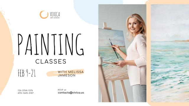 Ontwerpsjabloon van FB event cover van Art Lessons Ad Woman painting by easel