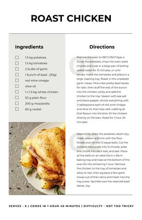Plantilla de diseño de Whole Roasted Chicken Recipe Card
