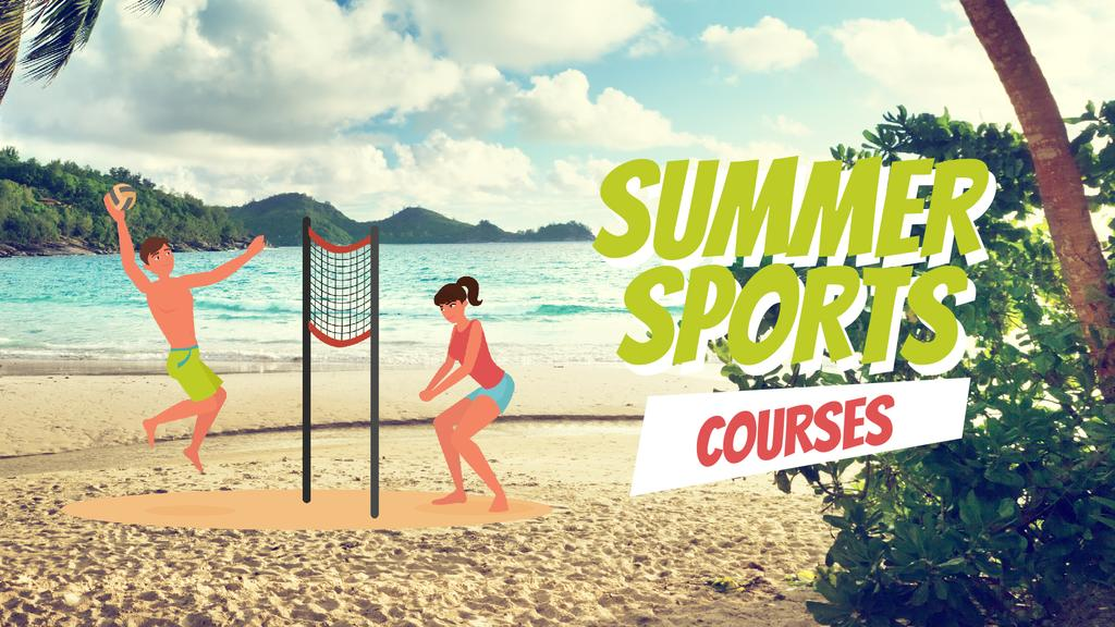 Summer Sports People Playing with Ball at the Beach | Full Hd Video Template — Create a Design