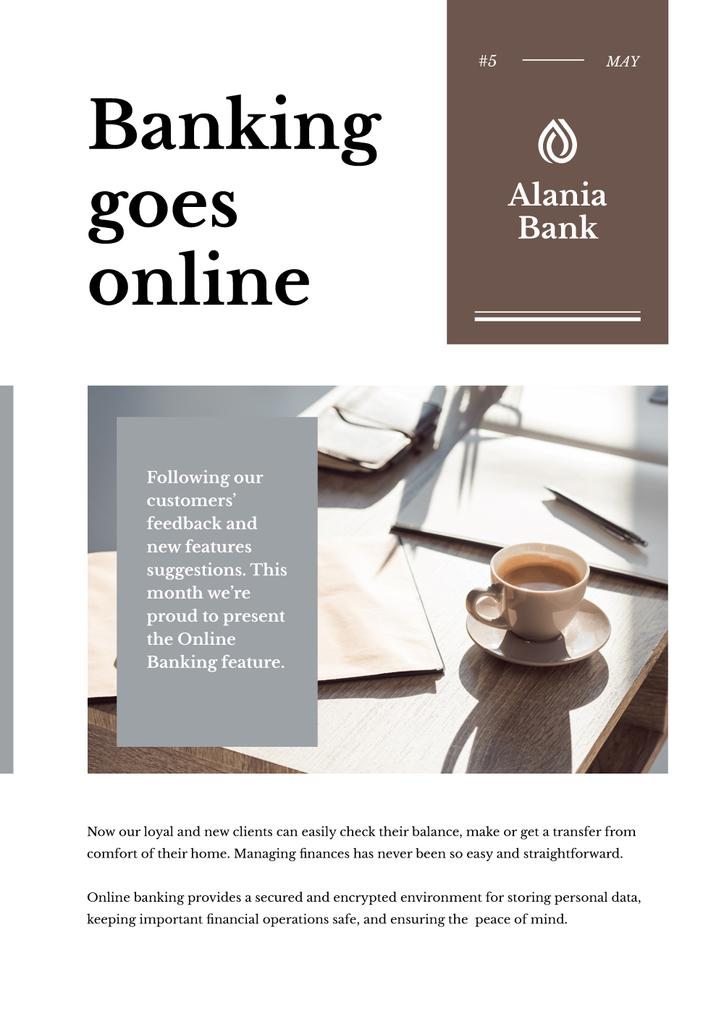 Online Banking Ad with Coffee on Workplace — Créer un visuel