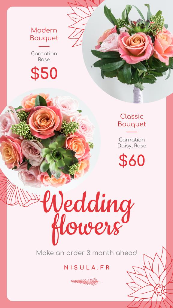 Florist Services Ad Wedding Bouquets with Roses Instagram Story Design Template