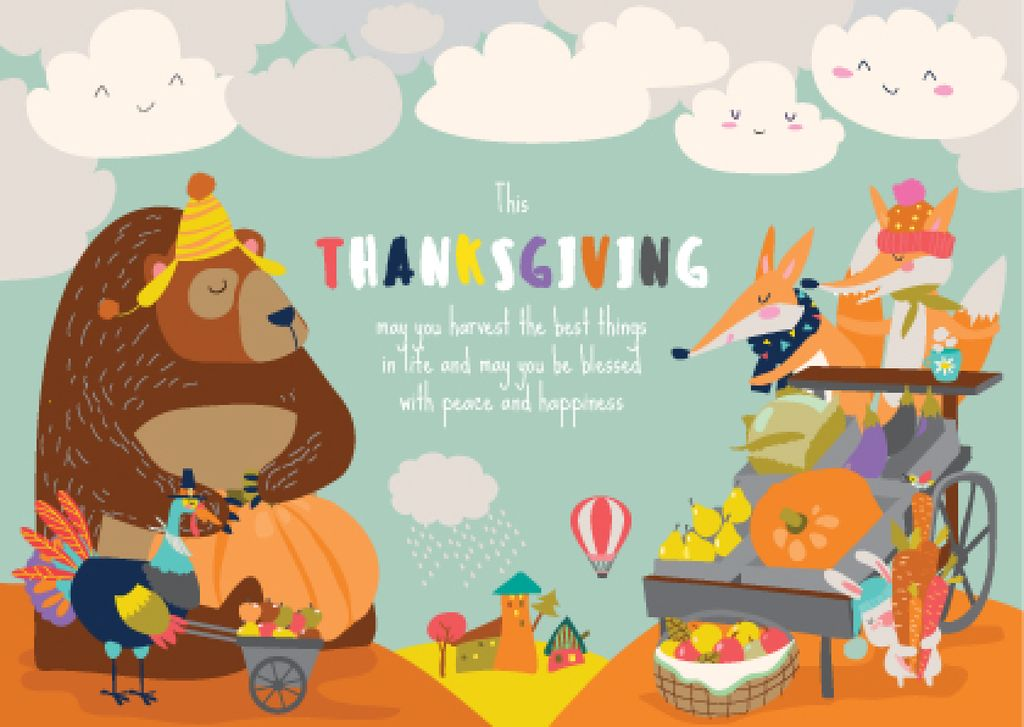 Animals celebrating Thanksgiving  — Modelo de projeto