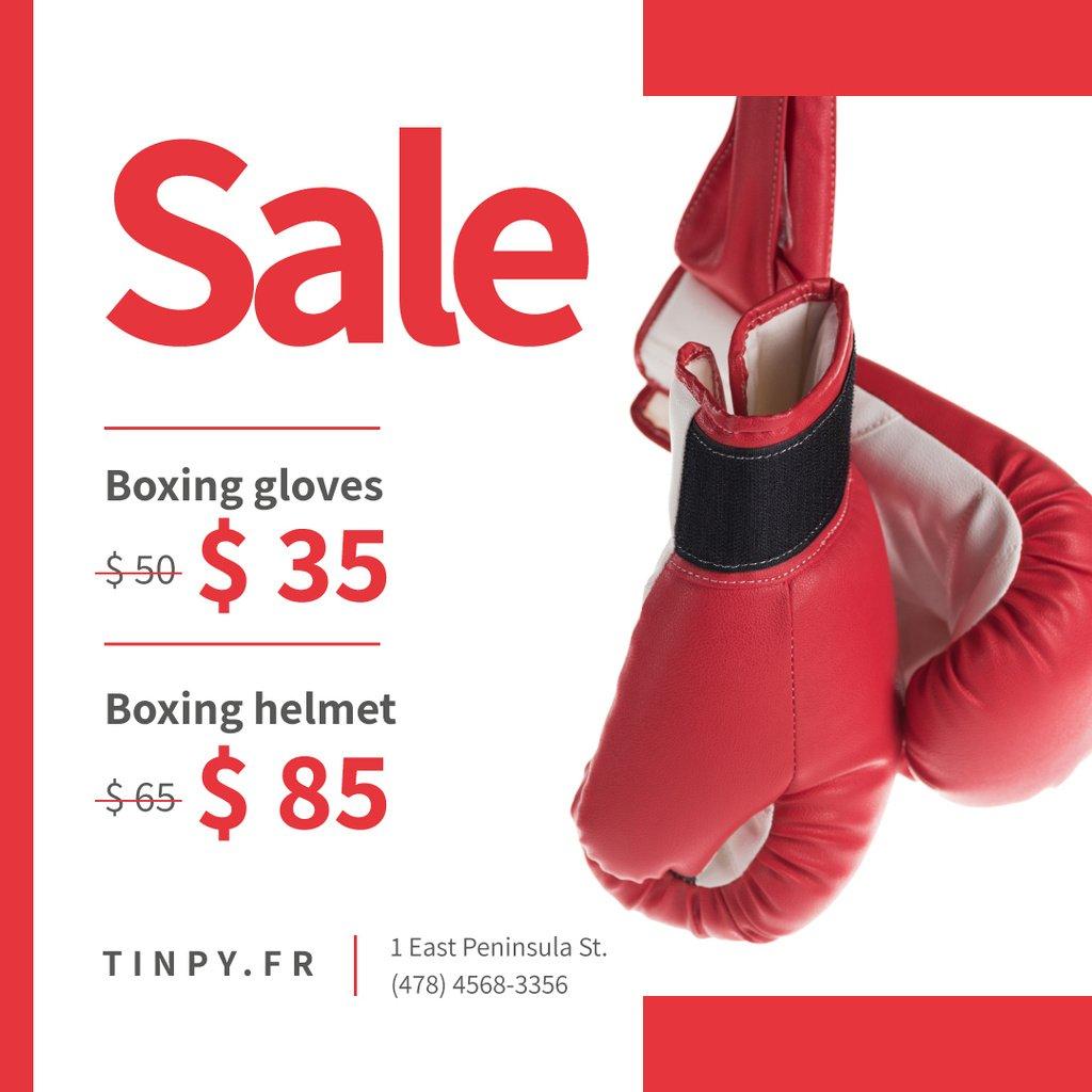 Sports Equipment Sale Boxing Gloves in Red — ein Design erstellen