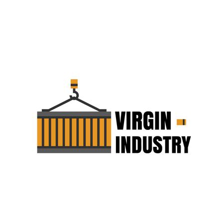 Ontwerpsjabloon van Logo van Building Industry with Construction Crane Icon