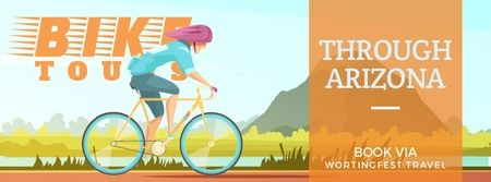 Cyclist riding on nature background Facebook Video cover Design Template
