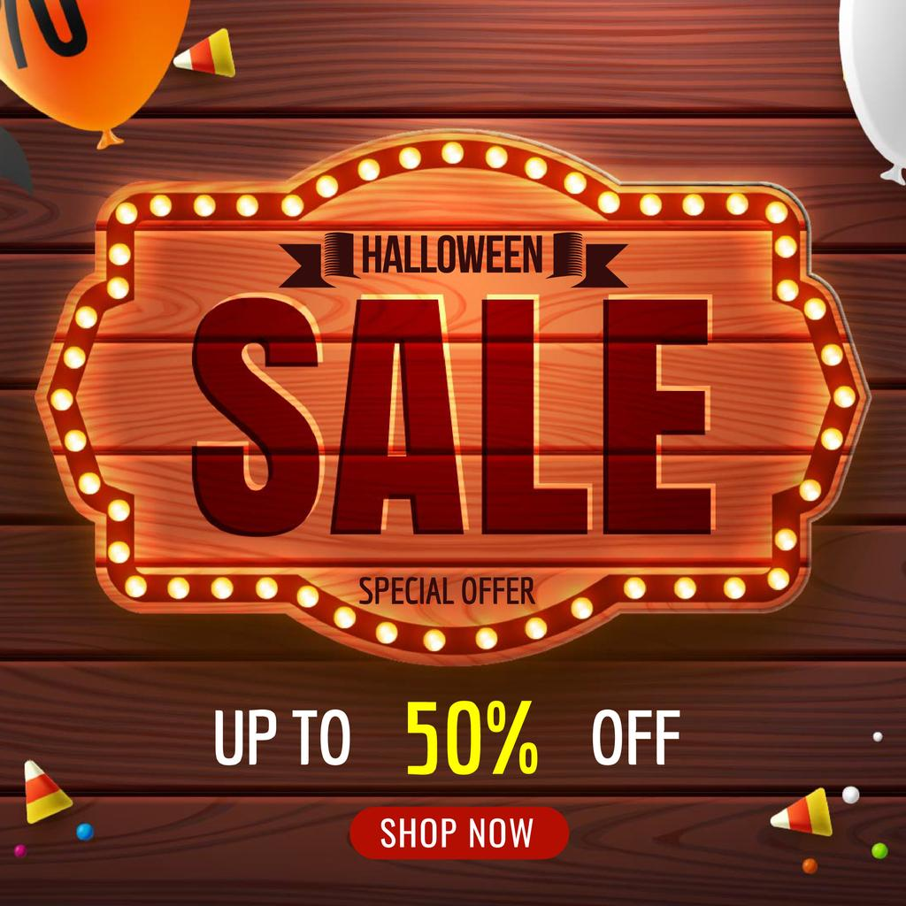 Halloween sale badge with balloons — Créer un visuel