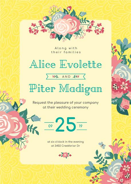 Wedding Flowers Frame in Yellow Invitation Design Template