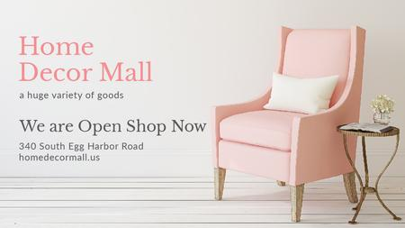 Ontwerpsjabloon van Title van Furniture Store ad with Armchair in pink