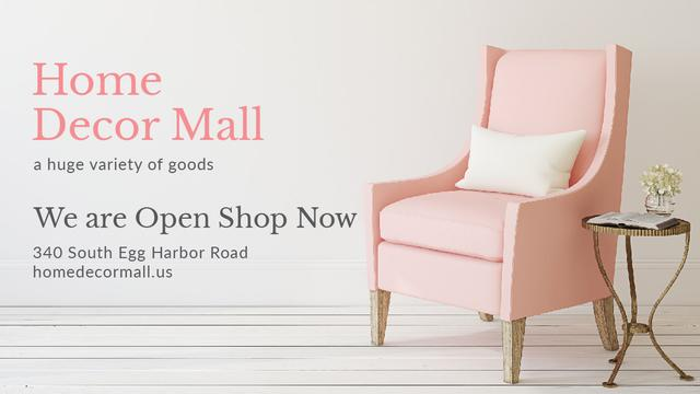 Plantilla de diseño de Furniture Store ad with Armchair in pink Title