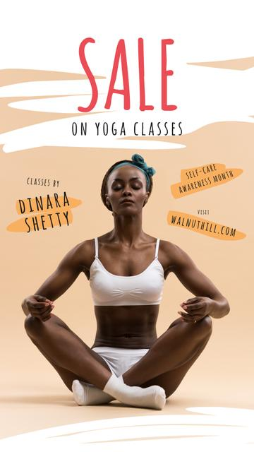 Self-Care Awareness Month Offer Woman Practicing Yoga Instagram Story Design Template