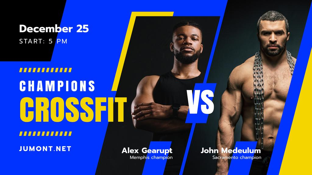 Crossfit Championship announcement with Muscular Sportsmen — Создать дизайн