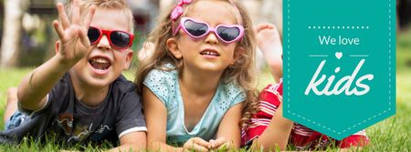 Happy little kids in cute sunglasses Facebook coverデザインテンプレート
