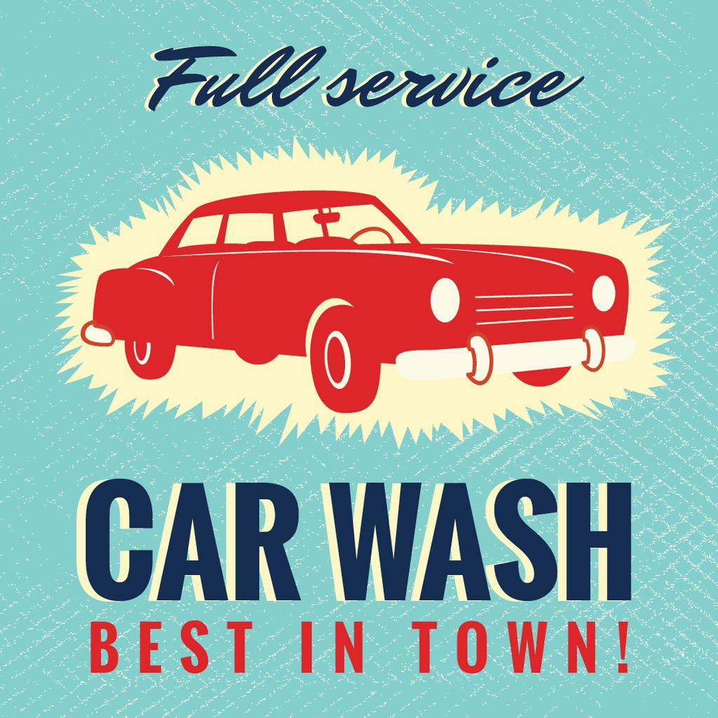 Car Wash service promotion in Blue — Maak een ontwerp