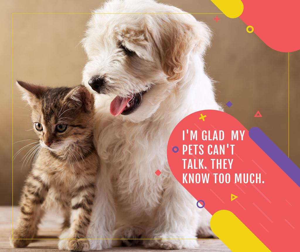 Pets Behavior quote with Cute Dog and Cat Facebook Design Template