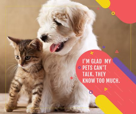 Pets Behavior quote with Cute Dog and Cat Facebook – шаблон для дизайна