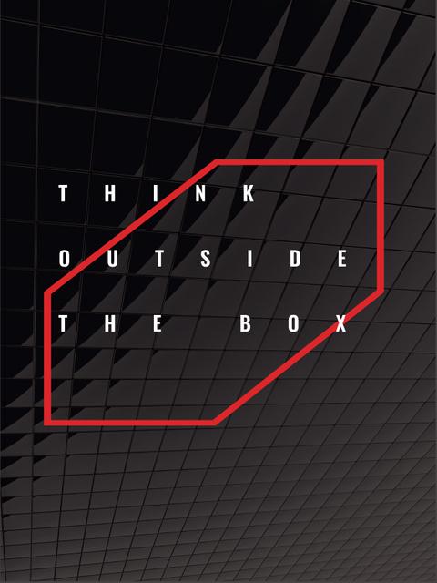 Modèle de visuel Think outside the box Quote on black tiles - Poster US