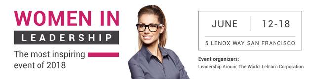 Women in Leadership event Announcement Twitter Modelo de Design
