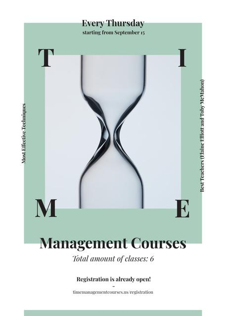 Hourglass for Management Courses ad Invitation Design Template