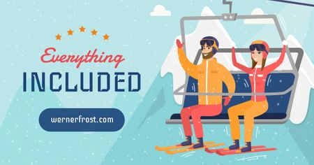 Skiers on chairlift seat Facebook AD – шаблон для дизайну