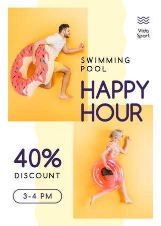 Swimming Pool Happy Hours People with Swim Rings Flayer Tasarım Şablonu