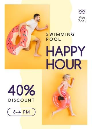 Swimming Pool Happy Hours People with Swim Rings Flayer Modelo de Design