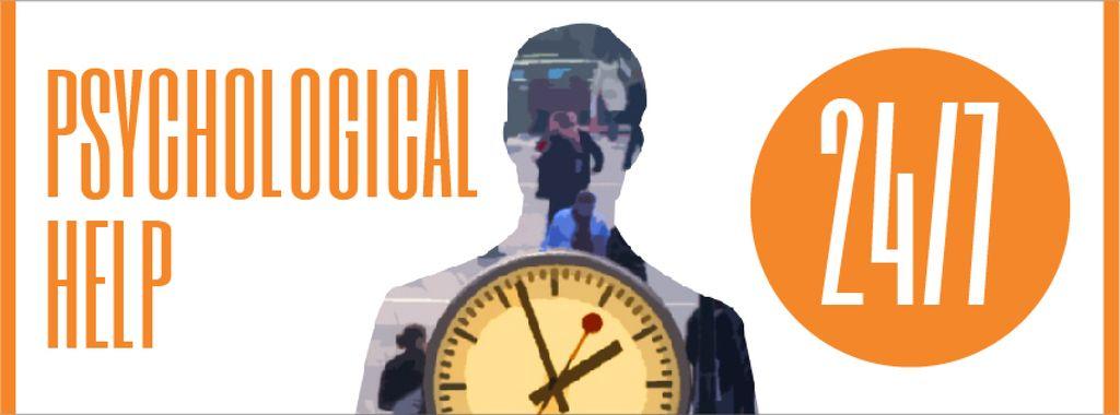 Double exposure of man silhouette and clock — Créer un visuel