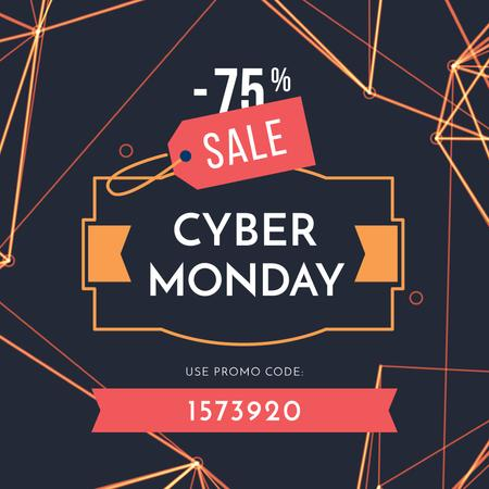 Ontwerpsjabloon van Instagram AD van Cyber Monday Sale on digital pattern