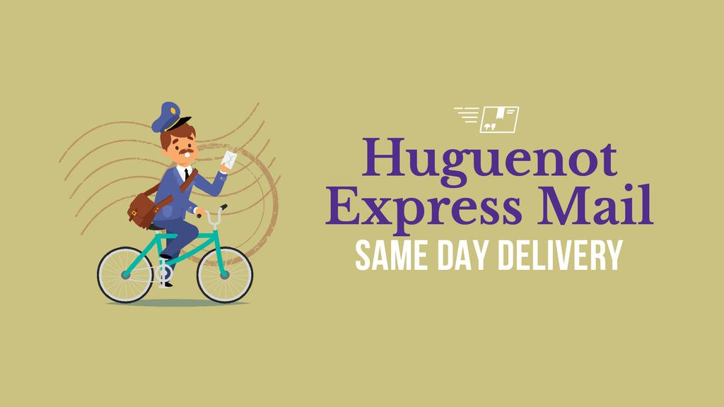 Delivery Service Mailman with Letter on Bicycle | Full Hd Video Template — Créer un visuel