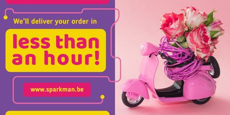 Ontwerpsjabloon van Twitter van Delivery Service Ad with Flowers on Toy Scooter