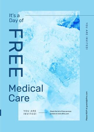 Free Medical Care day offer in blue Invitation – шаблон для дизайну