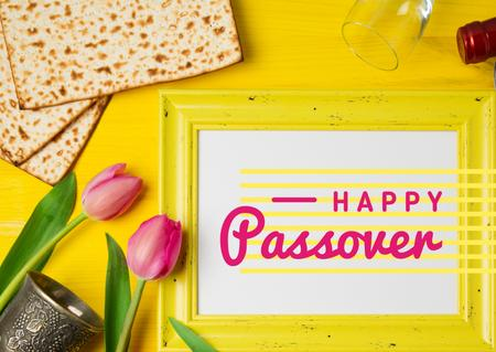 Happy Passover Holiday with Bread and Tulips Postcard Modelo de Design