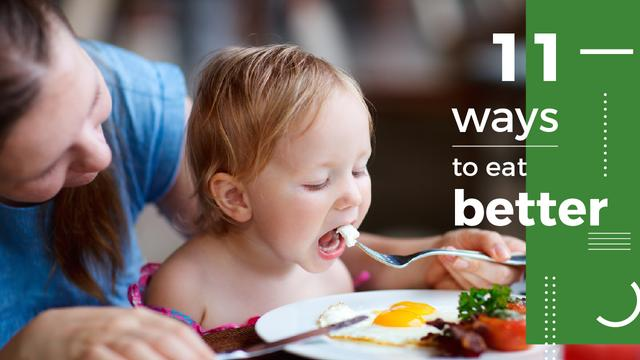 Ontwerpsjabloon van Youtube Thumbnail van Healthy Food for Kids Mother Feeding Child