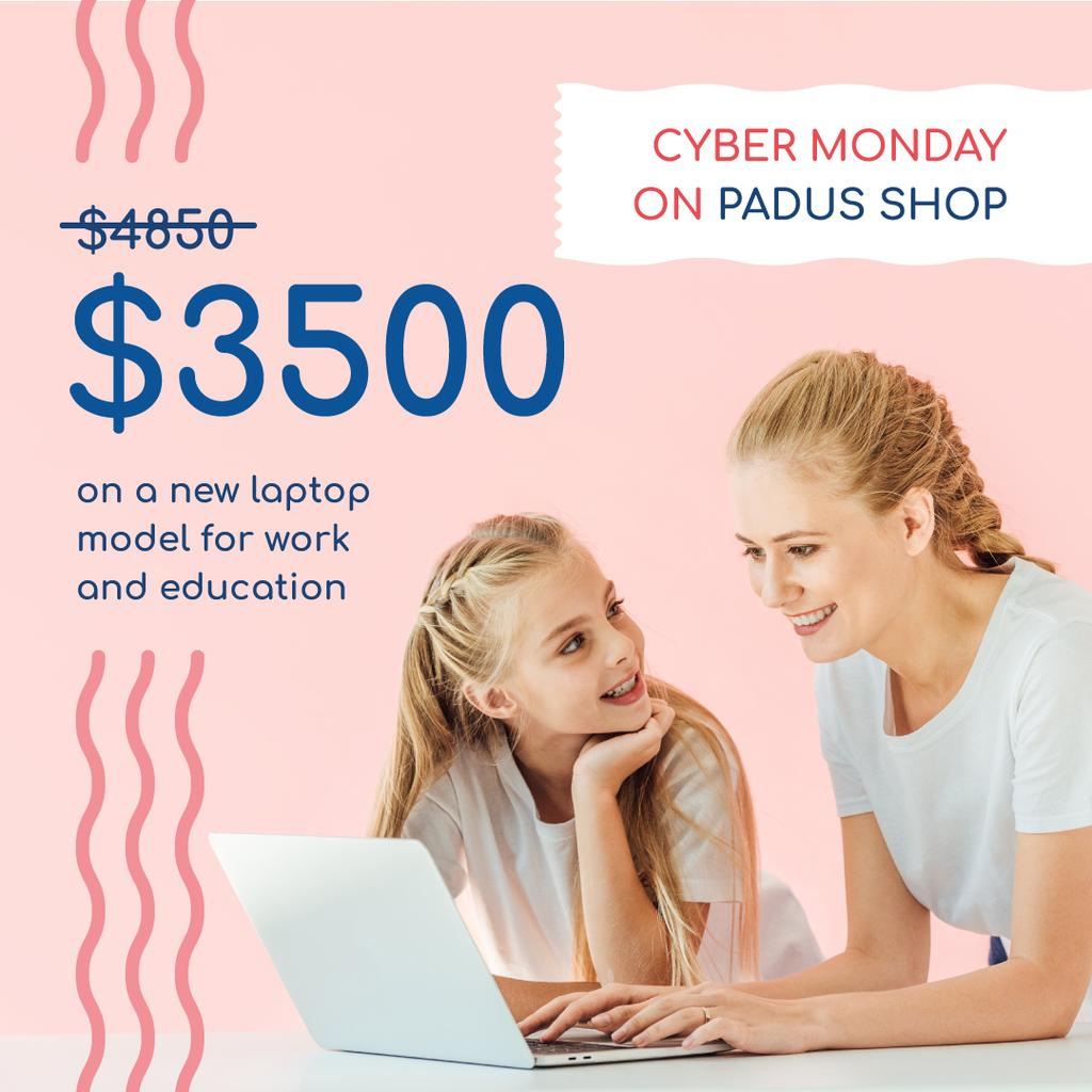 Cyber Monday Sale Mother and Daughter by Laptop | Instagram Post Template — Створити дизайн