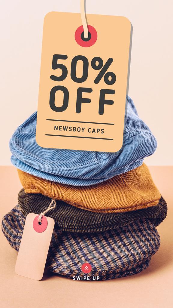 Clothes Store Sale Male Caps Pile Instagram Story Modelo de Design