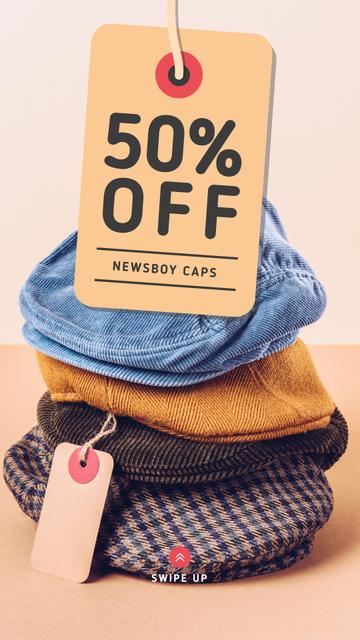 Plantilla de diseño de Clothes Store Sale Male Caps Pile Instagram Story